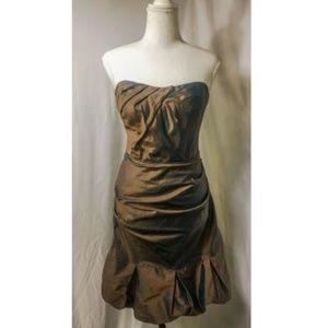 Nicole Miller Bronze Strapless 100% Silk Dress